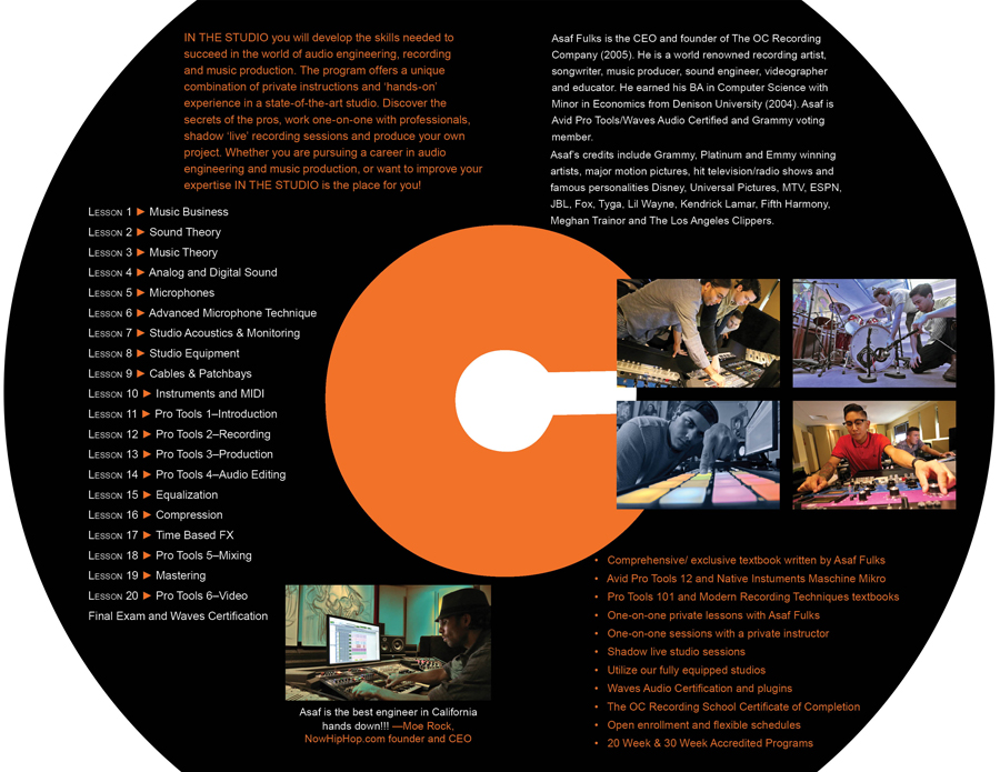 OCRS Audio School Orange County OC, California Music Production, Audio Engineering, In The Studio
